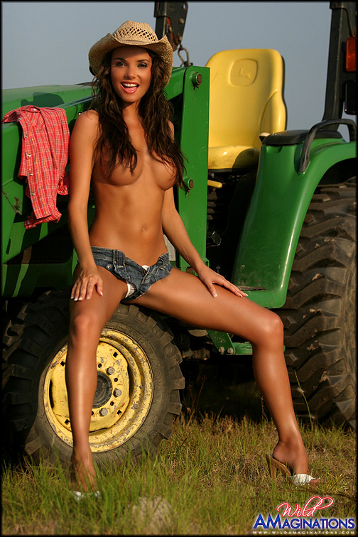hot country girl naked on a tractor