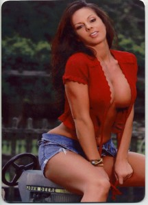 hot woman on tractor